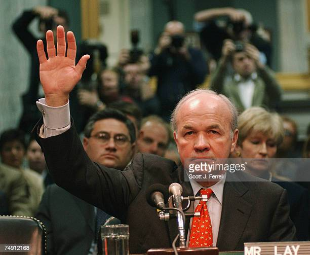 LAYFormer Enron head Kenneth Lay takes the oath to testify before Senate Commerce He read a short statement and invoked his Fifth Amendment rights