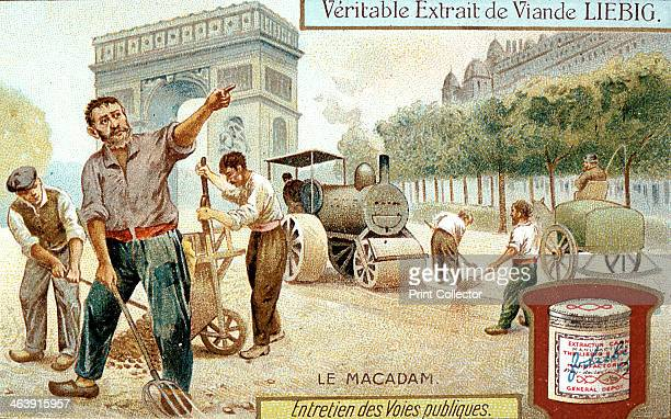 Laying a Macadam road surface and compacting it with a steam road roller Paris c1900 Workmen are wearing wooden shoes Liebig trade card