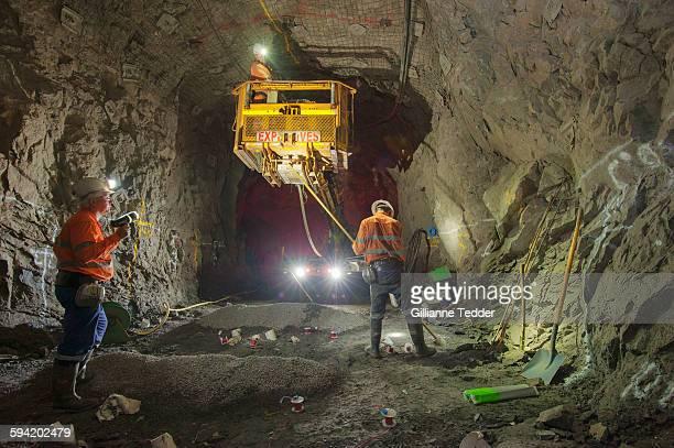 Laying explosives underground