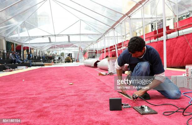 Laying the red carpet outside the Kodak Theatre in Hollywood Boulevard Los Angeles where the 80th Academy Awards are set to be staged on Sunday 24th...