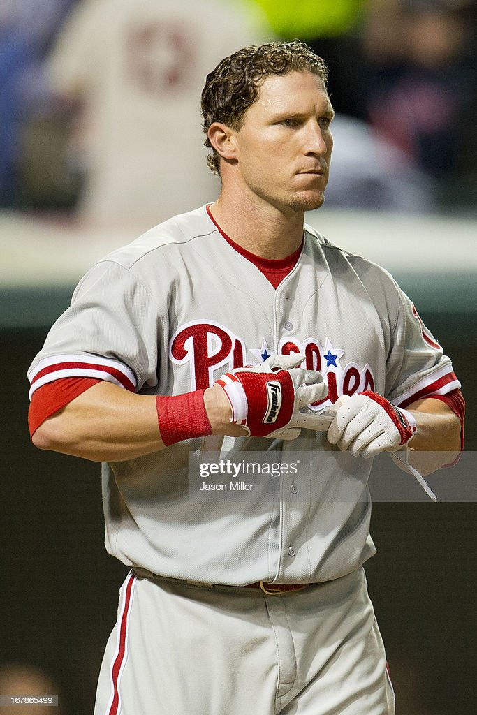 <a gi-track='captionPersonalityLinkClicked' href=/galleries/search?phrase=Laynce+Nix&family=editorial&specificpeople=214636 ng-click='$event.stopPropagation()'>Laynce Nix</a> #19 of the Philadelphia Phillies reacts after striking out to end the sixth inning against the Cleveland Indians at Progressive Field on May 1, 2013 in Cleveland, Ohio.