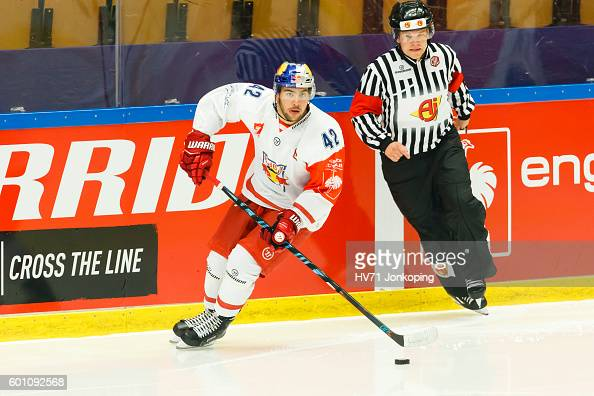 Layne Viveiros of Red Bull Salzburg single action during the Champions Hockey League match between HV71 Jonkoping and Red Bull Salzburg at Kinnarps...