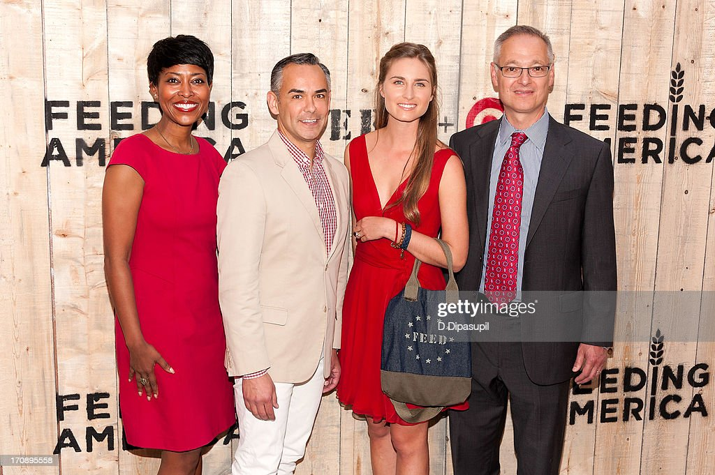 Laysha Ward, <a gi-track='captionPersonalityLinkClicked' href=/galleries/search?phrase=Rick+Gomez&family=editorial&specificpeople=742630 ng-click='$event.stopPropagation()'>Rick Gomez</a>, Lauren Bush Lauren, and Bob Aiken attend the Target FEED Collaboration launch at Brooklyn Bridge Park on June 19, 2013 in New York City.
