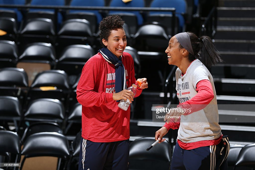 Layshia Clarendon #5 and Briann January #20 of the Indiana Fever laugh and smile during media availability prior to Game 1 of the 2015 WNBA Finals on October 3, 2015 at Target Center in Minneapolis, Minnesota.