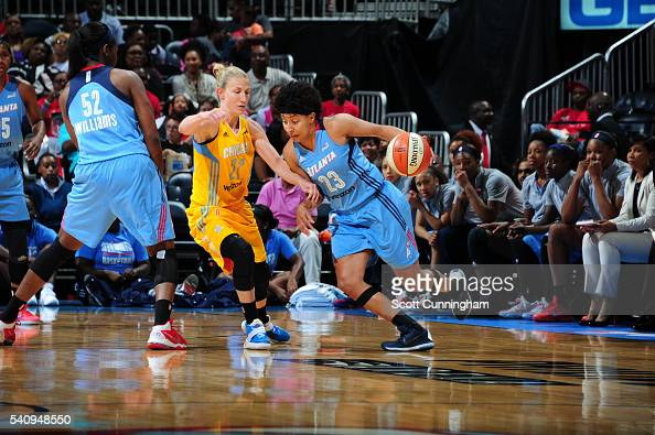 Layshia Clarendon of the Atlanta Dream drives to the basket against Courtney Vandersloot of the Chicago Sky on June 17 2016 at Philips Arena in...