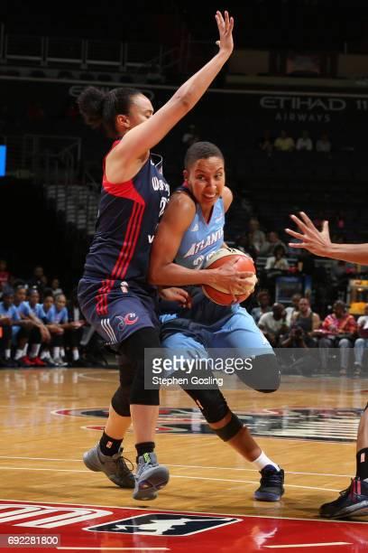Layshia Clarendon of the Atlanta Dream drives to the basket against the Washington Mystics on June 4 2017 at Verizon Center in Washington DC NOTE TO...