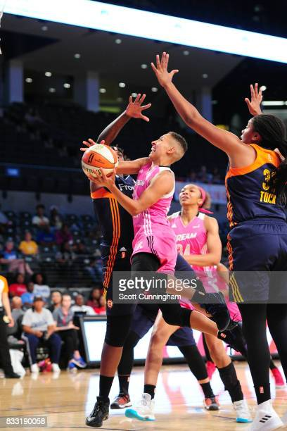 Layshia Clarendon of the Atlanta Dream goes for a lay up against the Connecticut Sun during at WNBA game on August 15 2017 at Hank McCamish Pavilion...