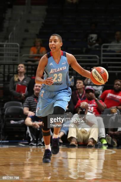 Layshia Clarendon of the Atlanta Dream handles the ball against the Washington Mystics on June 4 2017 at Verizon Center in Washington DC NOTE TO USER...