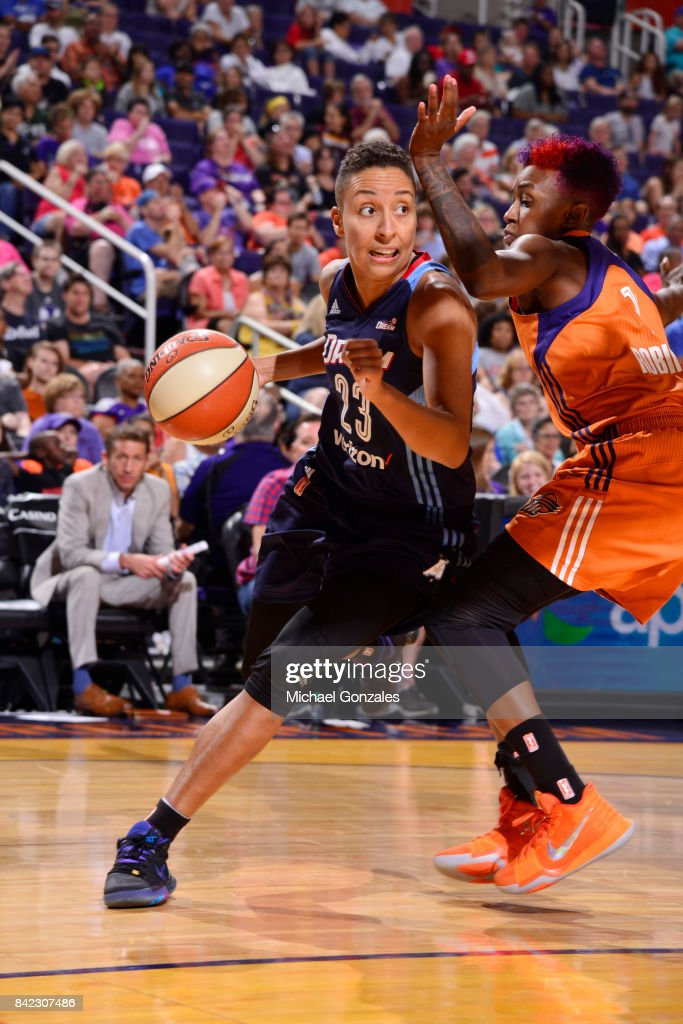 Layshia Clarendon #23 of the Atlanta Dream handles the ball against the Phoenix Mercury on September 3, 2017 at Talking Stick Resort Arena in Phoenix, Arizona.