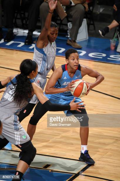 Layshia Clarendon of the Atlanta Dream passes the ball against the Minnesota Lynx on August 3 2017 at Xcel Energy Center in St Paul Minnesota NOTE TO...