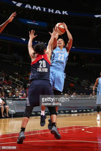 Layshia Clarendon of the Atlanta Dream shoots the ball against the Washington Mystics on June 4 2017 at Verizon Center in Washington DC NOTE TO USER...