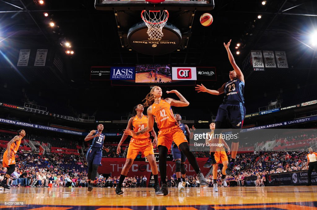 Layshia Clarendon #23 of the Atlanta Dream shoots the ball against the Phoenix Mercury on September 3, 2017 at Talking Stick Resort Arena in Phoenix, Arizona.