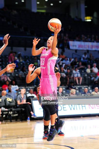 Layshia Clarendon of the Atlanta Dream shoots the ball during the game against the Connecticut Sun during at WNBA game on August 15 2017 at Hank...