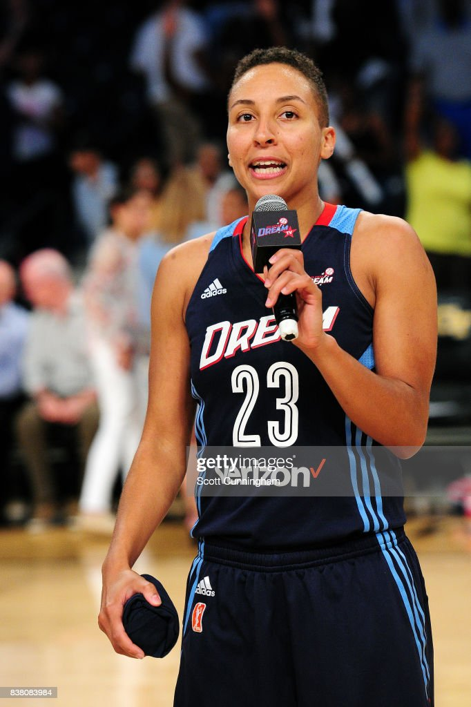 Layshia Clarendon #23 of the Atlanta Dream talks to the crowd after the game against the Seattle Storm during a WNBA game on August 23, 2017 at Hank McCamish Pavilion in Atlanta, Georgia.