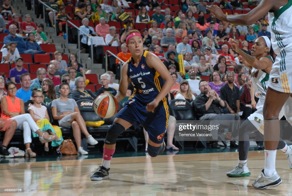 <a gi-track='captionPersonalityLinkClicked' href=/galleries/search?phrase=Layshia+Clarendon&family=editorial&specificpeople=10666159 ng-click='$event.stopPropagation()'>Layshia Clarendon</a> #5 of the Indiana Fever drives to the basket against the Seattle Storm on July 31,2014 at Key Arena in Seattle, Washington.