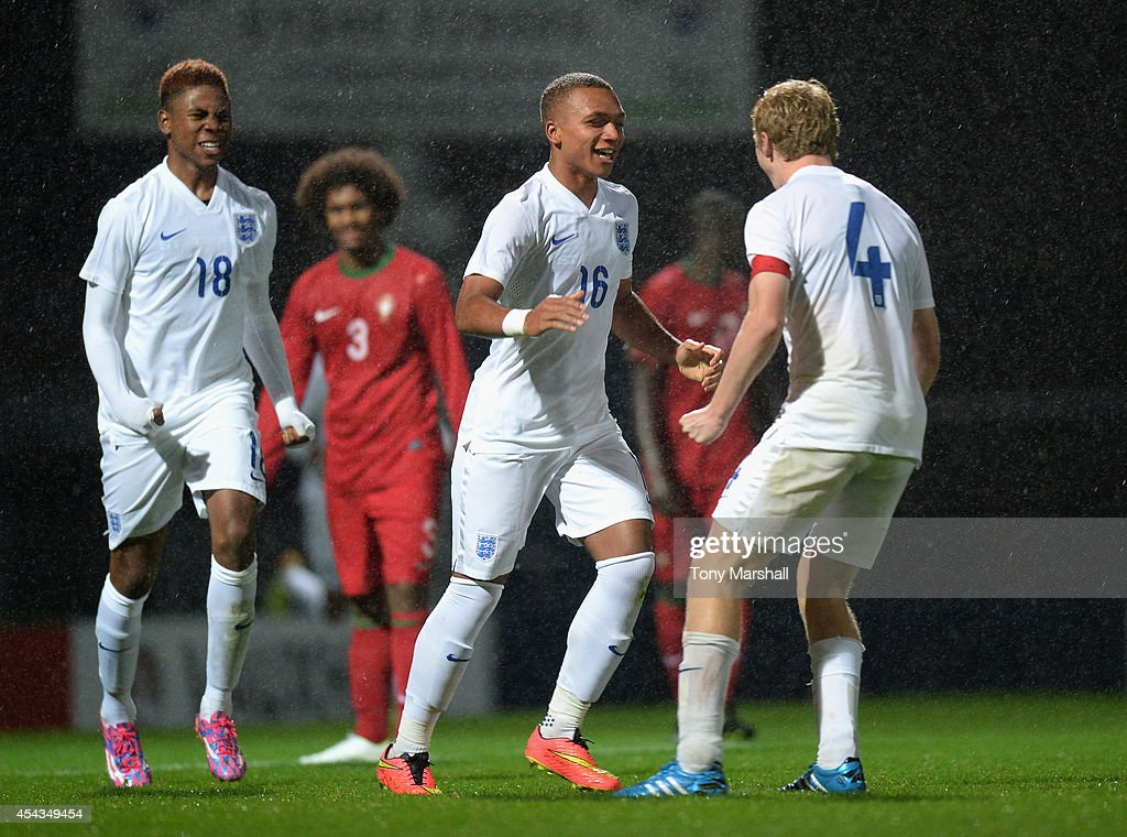 Layton Ndukwu of England celebrates scoring their first goal during the Under 17 International match between England U17 and Portugal U17 at Proact Stadium on August 29, 2014 in Chesterfield, England.
