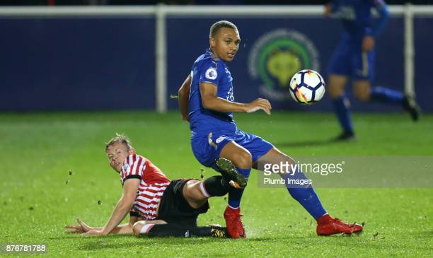 Layton Ndukwu of Leicester City in action with Jack Diamond of Sunderland during the Premier League 2 match between Leicester City and Sunderland at...