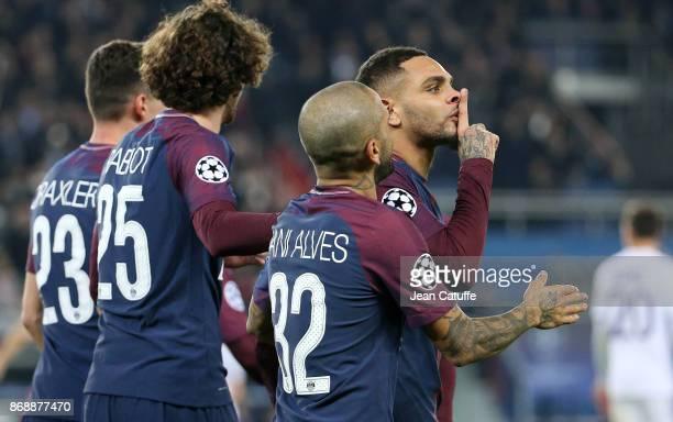 Layvin Kursawa of PSG celebrates his goal during the UEFA Champions League group B match between Paris SaintGermain and RSC Anderlecht at Parc des...