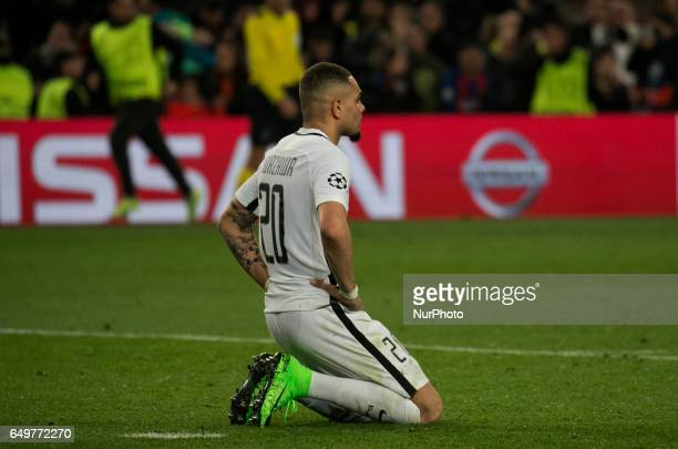 Layvin Kurzawa at the end of the match of UEFA Champions League between FC Barcelona v PSG in Barcelona on march 08 2017