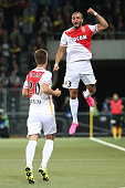 Layvin Kurzawa of AS Monaco celebrates after scoring his team's opening goal during the UEFA Champions League third qualifying round 1st leg match...