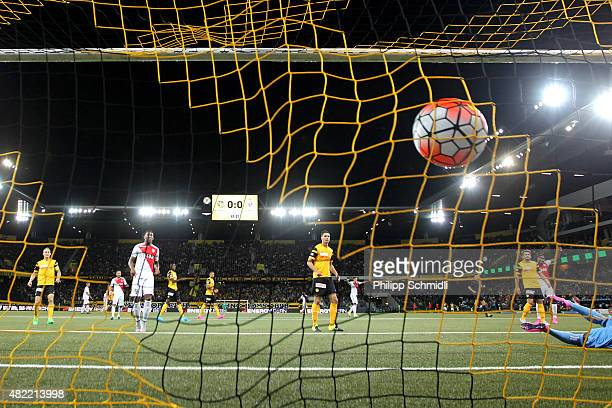Layvin Kurzawa of AS Monaco shoots his team's opening goal during the UEFA Champions League third qualifying round 1st leg match between BSC Young...