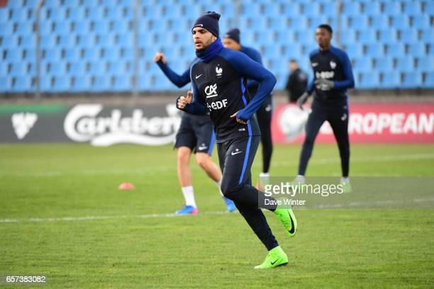 Layvin Kurzawa of France during the training session before the FIFA World Cup 2018 qualifying match between Luxembourg and France on March 24 2017...