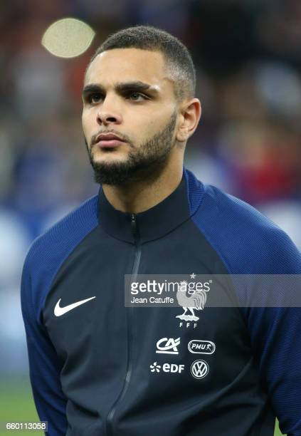 Layvin Kurzawa of France looks on before the international friendly match between France and Spain between France and Spain at Stade de France on...