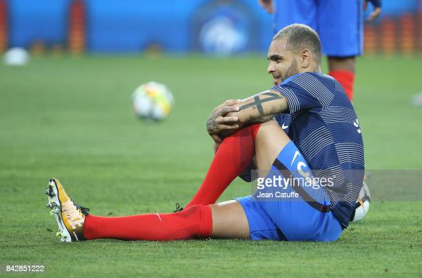 Layvin Kurzawa of France warms up before the FIFA 2018 World Cup Qualifier between France and Luxembourg at the Stadium on September 3 2017 in...