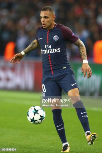 Layvin Kurzawa of Paris runs with the ball during the UEFA Champions League group B match between Paris SaintGermain and Bayern Muenchen at Parc des...