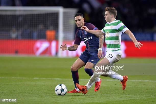 Layvin Kurzawa of Paris SaintGermain and James Forrest of Celtic Glasgow fight for the ball during the UEFA Champions League group B match between...