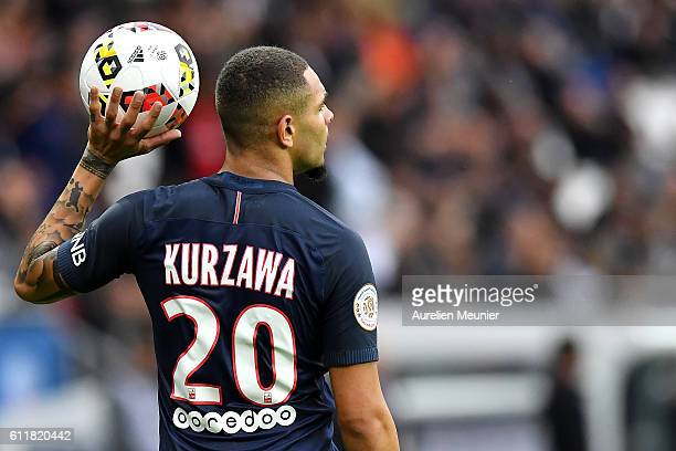 Layvin Kurzawa of Paris SaintGermain and Malcolm of FC Girondins de Bordeaux fight for the ball during the Ligue 1 match between Paris SaintGermain...