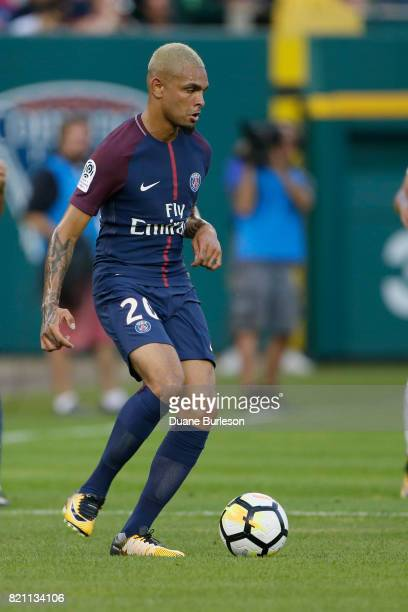 Layvin Kurzawa of Paris SaintGermain controls the ball against AS Roma during the first half at Comerica Park on July 19 2017 in Detroit Michigan