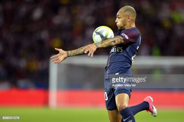 Layvin Kurzawa of Paris SaintGermain controls the ball during the Ligue 1 match between Paris SaintGermain and Toulouse at Parc des Princes on August...
