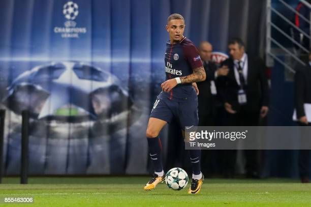 Layvin Kurzawa of Paris SaintGermain controls the ball during the UEFA Champions League group B match between Paris SaintGermain of Paris...