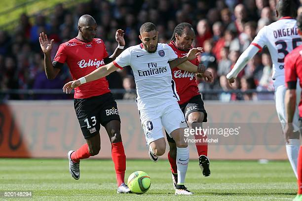 Layvin Kurzawa of Paris SaintGermain during the French League 1 match between EA Guingamp and Paris SaintGermain on April 9 2016 in Guingamp France