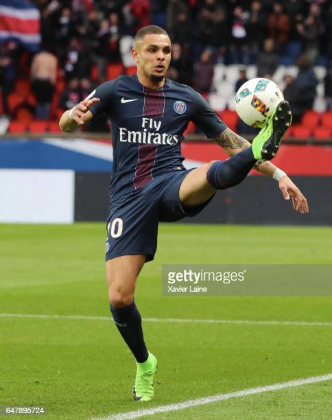 Layvin Kurzawa of Paris SaintGermain in action during the French Ligue 1 match between Paris SaintGermain and AS NancyLorraine at Parc des Princes on...