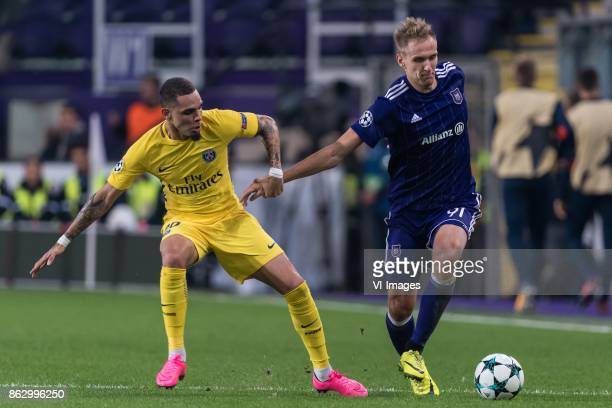 Layvin Kurzawa of Paris SaintGermain Lukasz Teodorczyk of RSC Anderlecht during the UEFA Champions League group B match between RSC Anderlecht and...