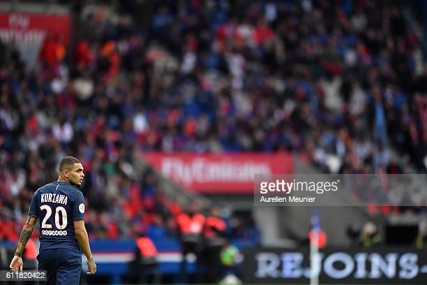 Layvin Kurzawa of Paris SaintGermain reacts during the Ligue 1 match between Paris SaintGermain and FC Girondins de Bordeaux at Parc des Princes on...