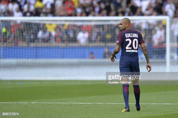 Layvin Kurzawa of Paris SaintGermain reacts during the Ligue 1 match between Paris SaintGermain and Amiens at Parc des Princes on August 5 2017 in...