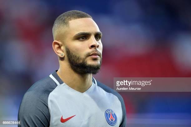 Layvin Kurzawa of Paris SaintGermain reacts during warmup before the Ligue 1 match between EA Guingamp and Paris SaintGermain at Parc des Princes on...
