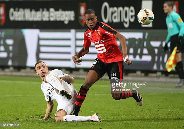 Layvin Kurzawa of PSG and Gelson Fernandes of Rennes in action during the French Ligue 1 match between Stade Rennais FC and Paris SaintGermain at...