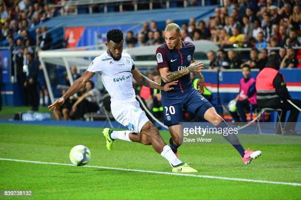 Layvin Kurzawa of PSG and Habib Maiga of St Etienne during the Ligue 1 match between Paris Saint Germain and AS Saint Etienne at Parc des Princes on...