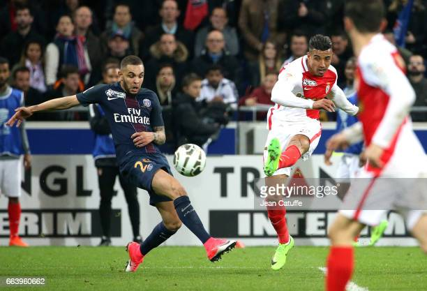 Layvin Kurzawa of PSG and Nabil Dirar of Monaco during the French League Cup final between Paris SaintGermain and AS Monaco at Parc OL on April 1...
