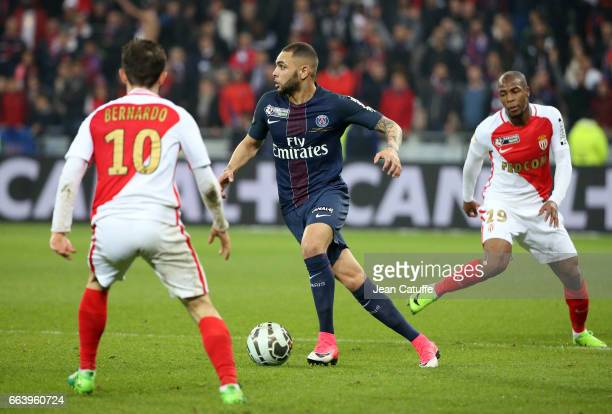 Layvin Kurzawa of PSG Djibril Sidibe of Monaco during the French League Cup final between Paris SaintGermain and AS Monaco at Parc OL on April 1 2017...