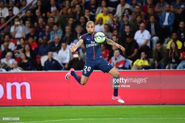 Layvin Kurzawa of PSG during the Ligue 1 match between Paris Saint Germain and Toulouse at Parc des Princes on August 20 2017 in Paris