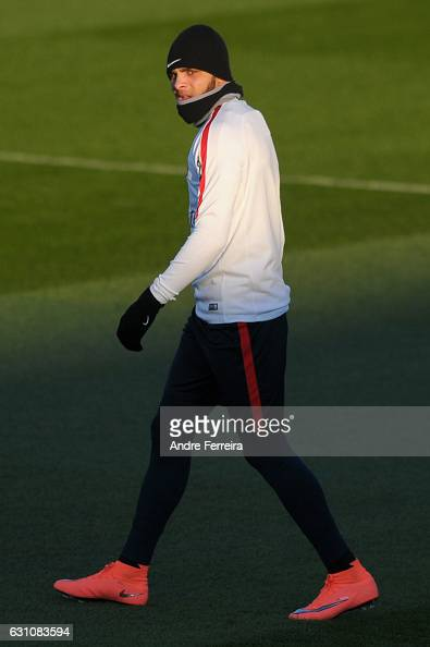 Layvin Kurzawa of PSG during the Training Session of Paris Saint Germain at Camp des Loges on January 6 2017 in Saint Germain en Laye