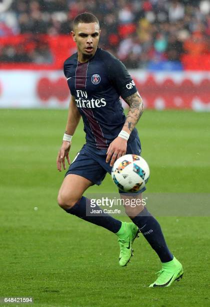 Layvin Kurzawa of PSG in action during the French Ligue 1 match between Paris Saint Germain and AS Nancy Lorraine at Parc des Princes stadium on...