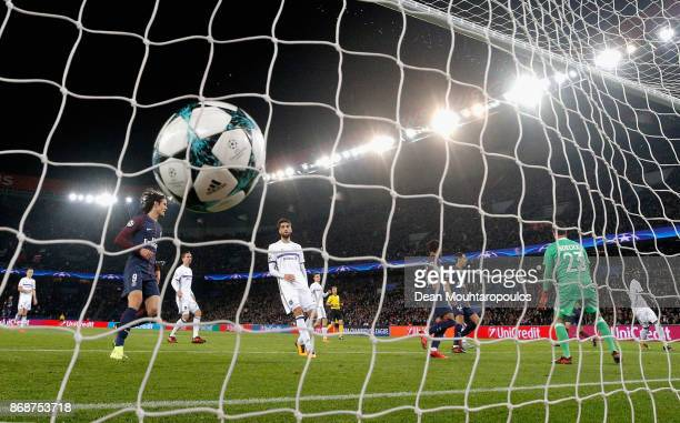 Layvin Kurzawa of PSG scores their fifth goal and completes his hat trick during the UEFA Champions League group B match between Paris SaintGermain...