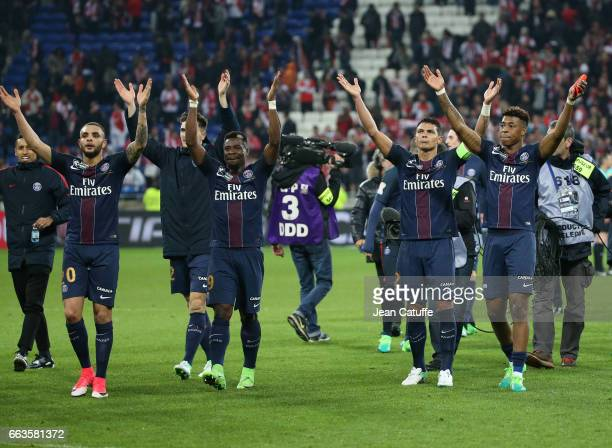 Layvin Kurzawa Thomas Meunier Serge Aurier Thiago Silva Presnel Kimpembe of PSG celebrate the victory following the French League Cup final between...