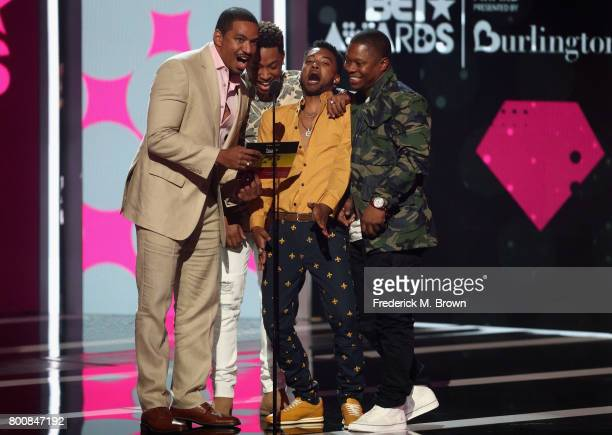 Laz Alonso Algee Smith Jacob Latimore and Jason Mitchell speak onstage at 2017 BET Awards at Microsoft Theater on June 25 2017 in Los Angeles...